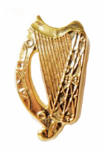 Irish Harp Small Gilt Pin Badge - FG49